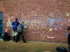 Lunchtime graffiti wall activity was very popular